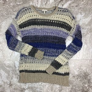 Joie Loose Knit Striped Crew Neck Sweater Size S